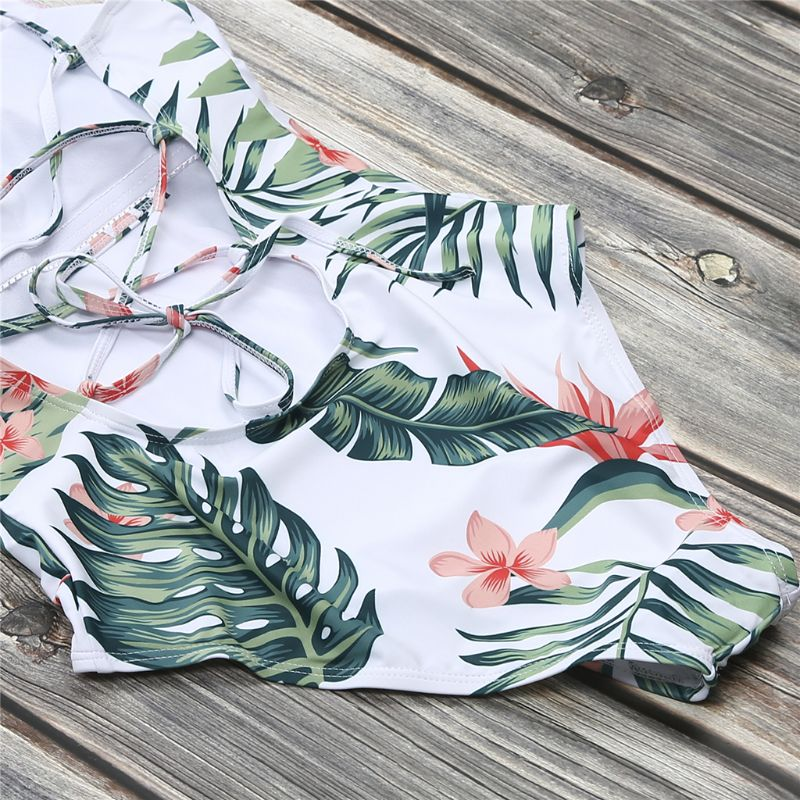 Family Matching Summer Bikini Bohemian Tropical Leaves Floral Printed Swimsuit Mom Dad Girls Boys Shorts Ruffles Patchwork Beach in Bikinis Set from Sports Entertainment