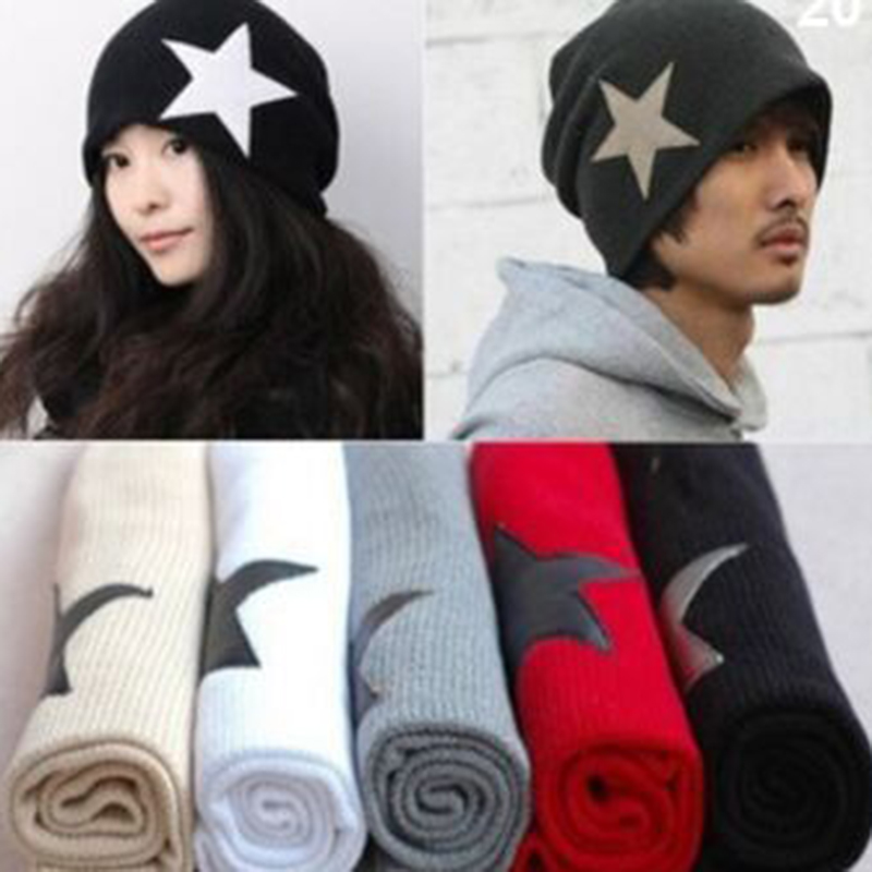 2017 Hot Sale!! Unisex Men's Crochet Star Beanie Hat Skull Cap  Knit Winter Women Hats Black/Red for Xmas a2 hot sale unisex winter plicate baggy beanie knit crochet ski hat cap