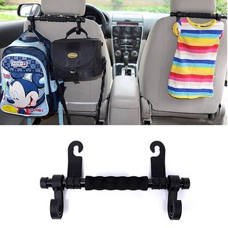 New Convenient Double Vehicle Hangers Auto Car Seat Headrest Hanger Holder Hooks For Bag Purse Cloth Grocer Interior Accessories 1 pc welcome car auto seat hanger purse bags organizer holder hooks hanger tool handy
