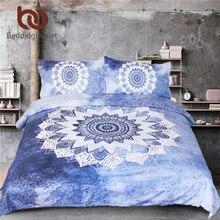 BeddingOutlet 3 Pcs Vintage Cobalt Blue Mandala Bedding Set Duvet Cover Hippie Gypsy Bohemian Mandala Floral Paisley Bedclothes