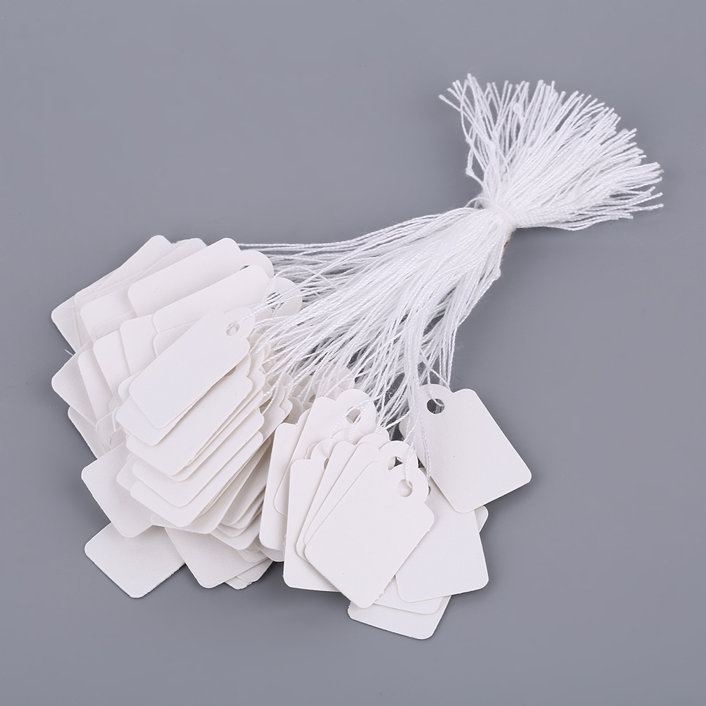 100 Pcs Silver Price Tag Rectangular White Blank String Jewelry Packaging Display Cards Promotion Price  Jewelry Label