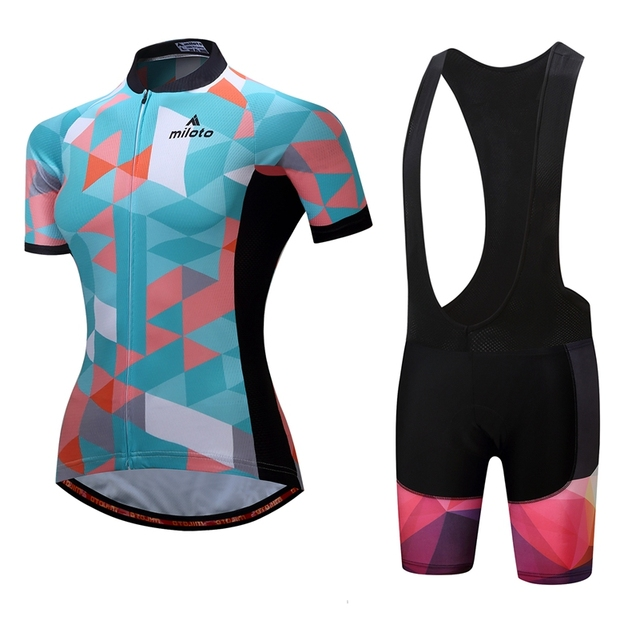 Blue Pink MTB Bike Jersey bib shorts set Ropa Ciclismo maillot Women Cycling  Clothing Girl bicycle Top Bottom Racing Breathable 18800c0dc