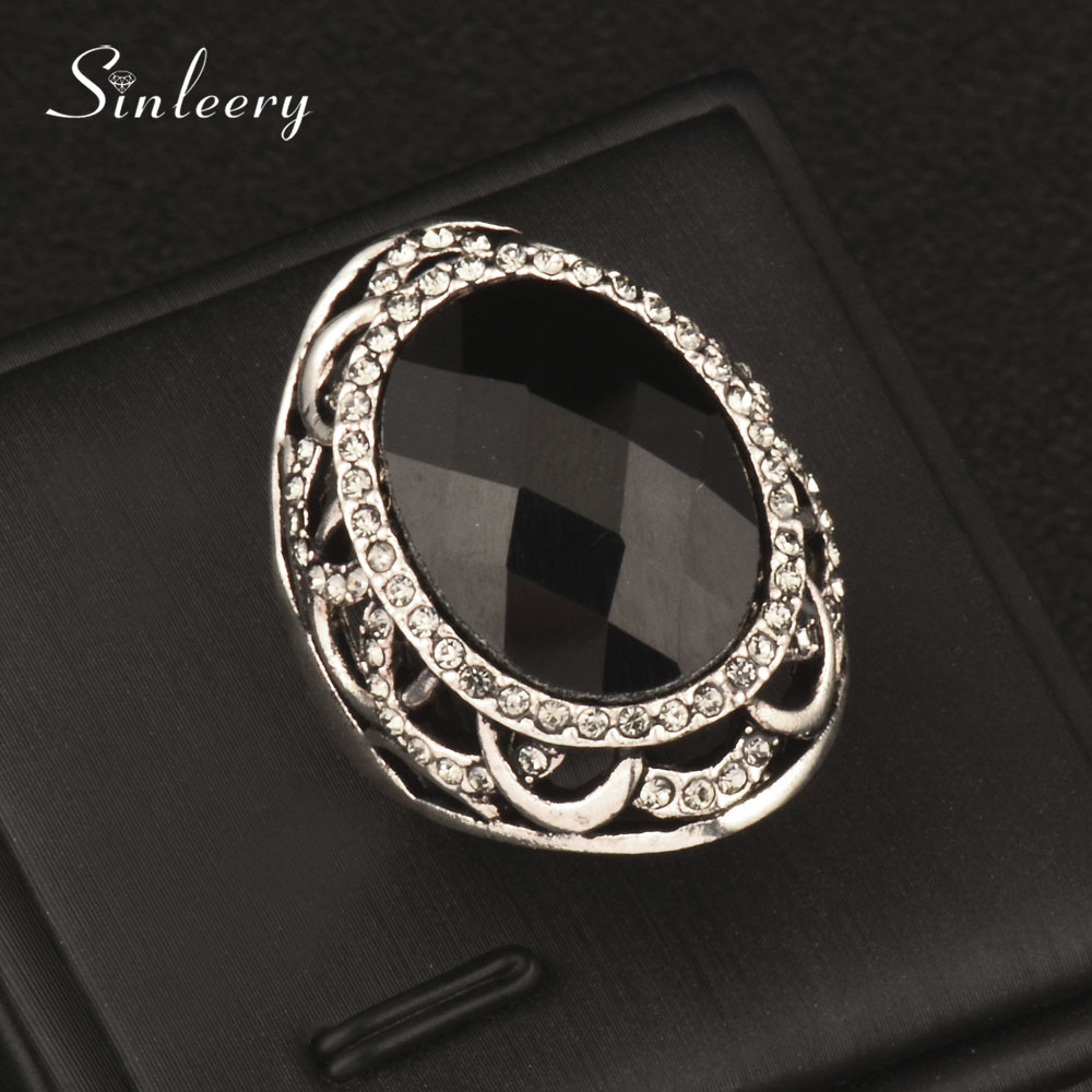 SINLEERY Vintage Hollow Flower Acrylic Oval Big Rings For Women Antique Silver Color Gray Crystal Party Jewelry Gifts Jz166 SSK