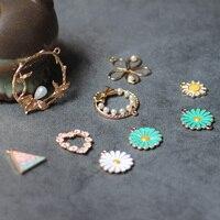 Korean Style Cute Flower Earrings For Women Alloy Drop Oil Geometric Fashion Sweet Earrings Wholesale DIY Jewelry Accessories
