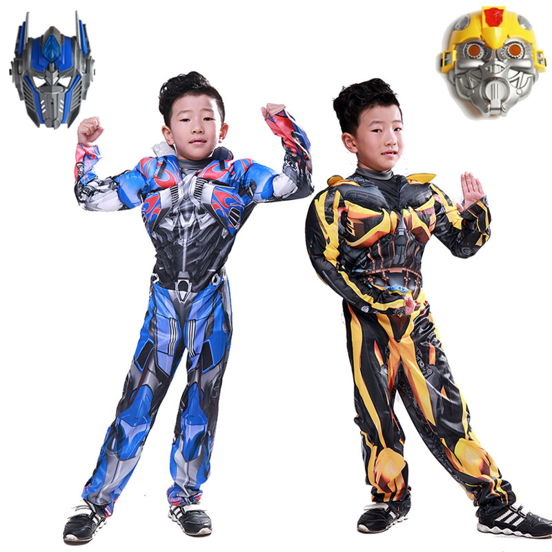 Kids Boys Movie Optimus Prime Muscle Cosplay Costumes Bumblebee Muscle Costume for Carnival Halloween Costumes Party