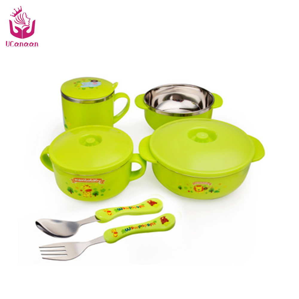 ФОТО high quality baby stainless steel  6 piece dinnerware set  children insulation bowl  and character spoon easy to carry