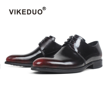 VIKEDUO Men Shoes Genuine Leather Patina Footwear Man Round Toe Men's Dress Shoes Wedding Office Zapatos de Hombre Suits Shoes