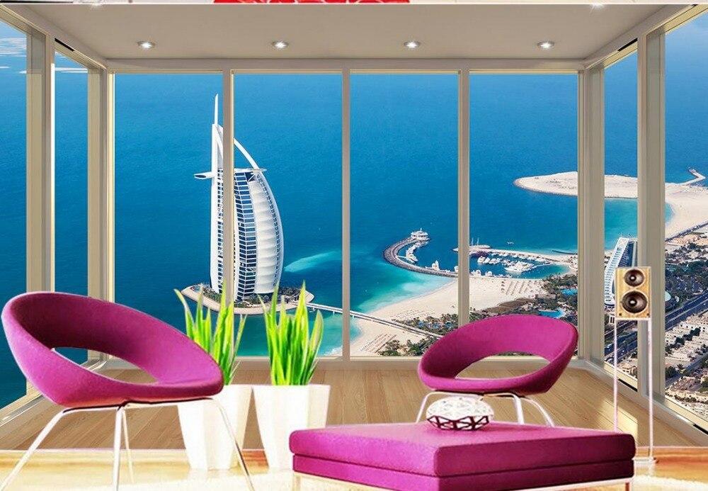 3d обои для комнаты красивый вид на Дубай парусник отель floorside балкон фото 3d обои