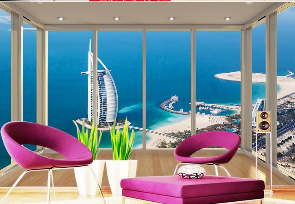 3d wallpaper for room Beautiful view of the Dubai Sailboat Hotel floorside balcony photo 3d wallpaper