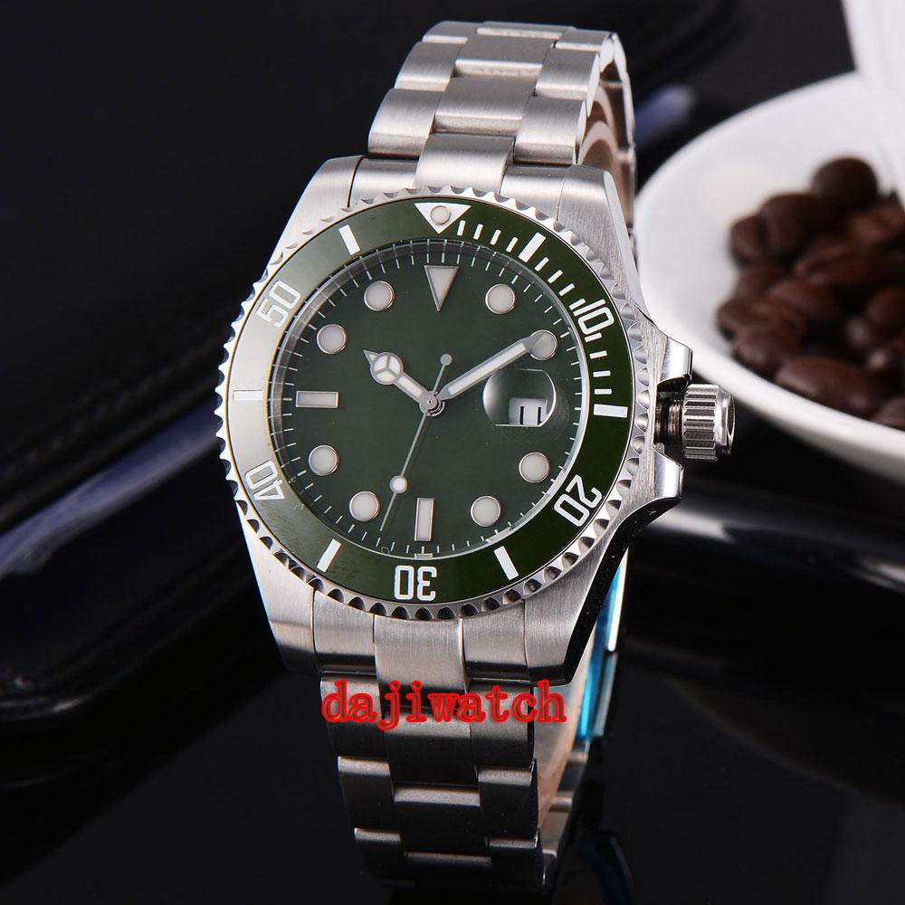 parnis 43mm green dial stainless steel case Sapphire glass calendar mechanical automatic watch men цена 2017