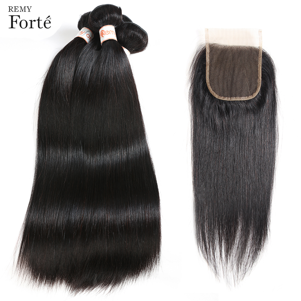 Remy Forte Peruvian hair weave bundles 28 Inch Bundles With Closure Straight  Wavy Bundles  Natural Color With 4x4 Lace Closure-in 3/4 Bundles with Closure from Hair Extensions & Wigs    1
