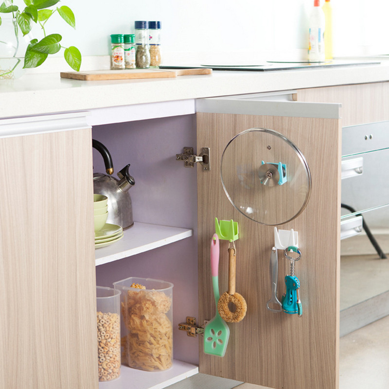 OnnPnnQ 2Pcs Kitchen Cabinets Storage Rack Pot Pan Cover Shell Sucker Tableware Organizer Wall Hook Holder Kitchen Accessories