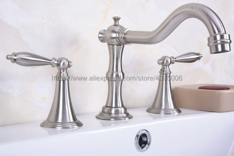 Nickel brossé montage sur pont double poignées robinet de lavabo 3 pièces salle de bains lavabo mitigeur Bbn018