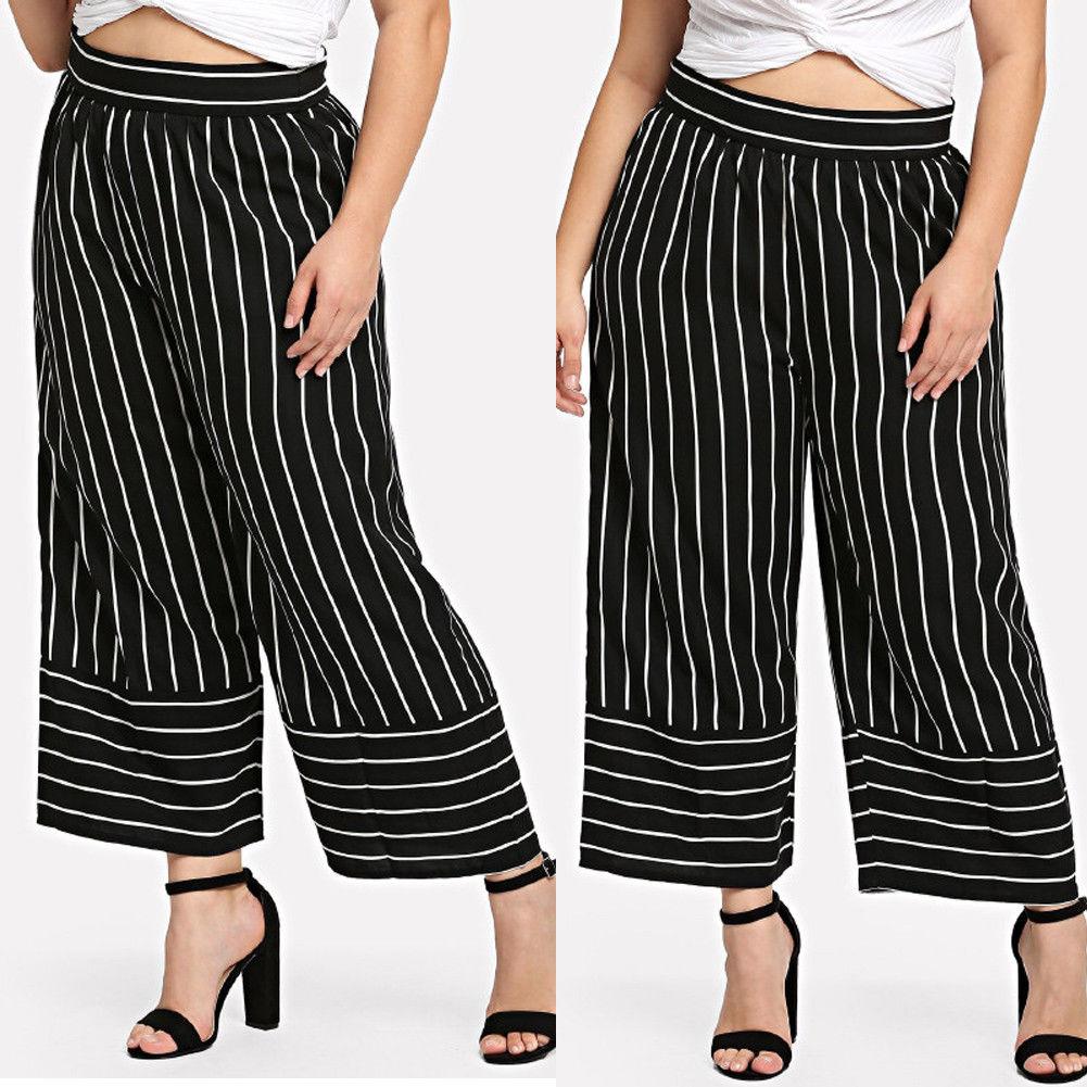 4401803a488c € 8.32 21% de DESCUENTO|Más tamaño las mujeres de talle alto negro rayas de  alta cintura moda Palazzo pantalones de pierna ancha pantalones de ...