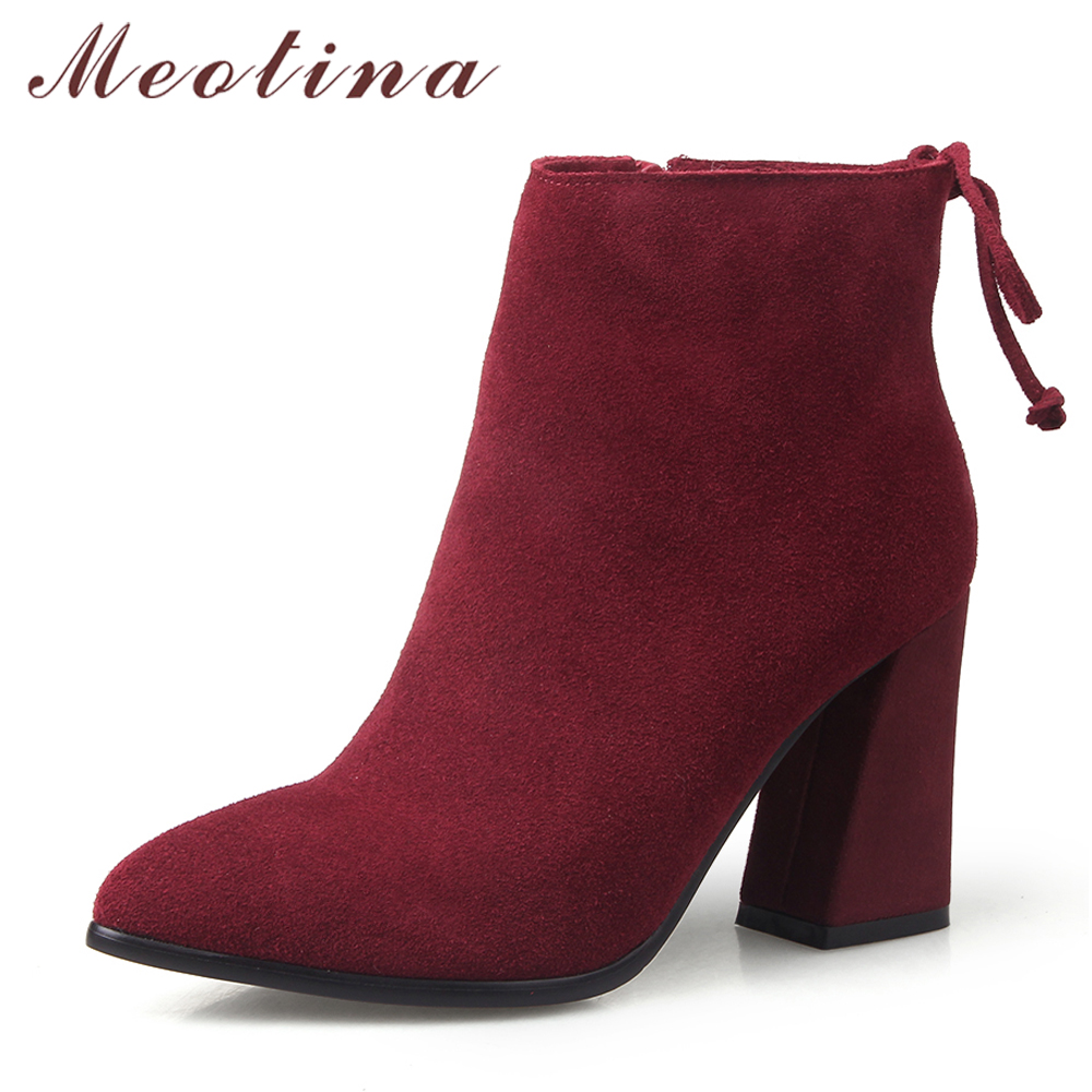 Meotina Women Ankle Boots Suede Genuine Leather High Heels Pointed Toe Boots Bow Zipper Shoes Autumn Botas Women Wine Size 33-42 women black shoes sheepskin genuine leather women shoes suede pointed toe rivet solid color buckle ladies causal ankle boots