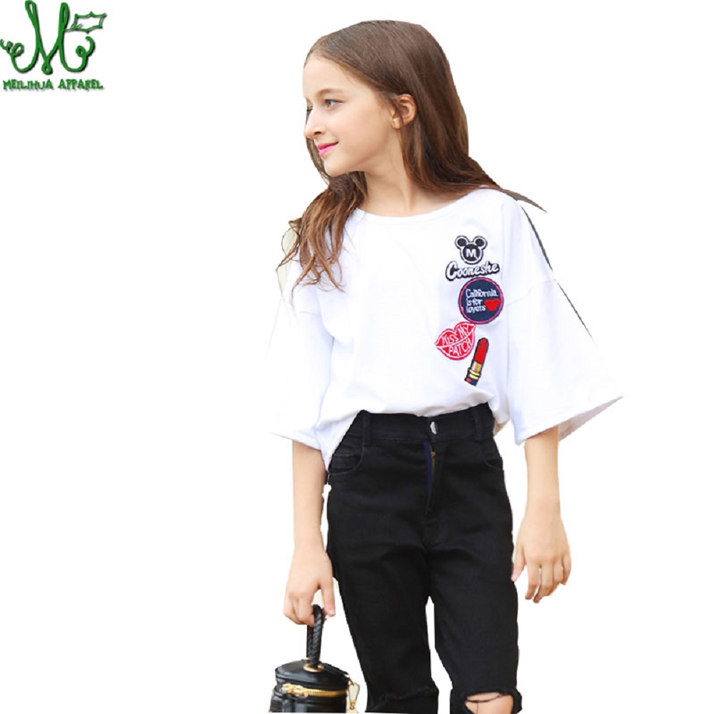 цена Girl Clothing Set 10 12 14 16 8 6 Years Flare Sleeve Embroidery T-shirt + Ripped Jeans Pants Toddler Teenage Girl Clothing