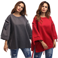 New Arrival Autumn 2017 Female Casual Top Full Flare Sleeve Hole Red Blouse Female Formal Wear Boho Coat Fashion Cheap Clothes