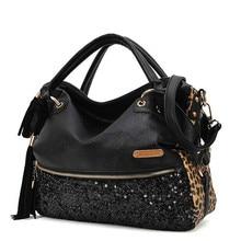 2016 Luxus-mode-frauen Taschen Leopard Quasten Handtasche Frauen Leder Paillette Umhängetasche Große frauen Tote mochila feminina