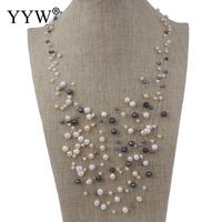 YYW 100 Natural Freshwater Pearl Necklace Crystal Thread Multi Colored 4 7mm Pearl Long Necklace For