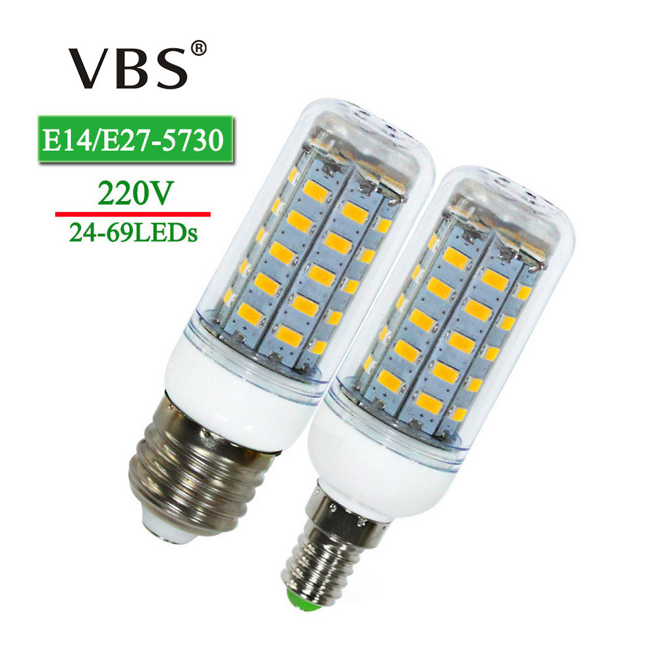 E27 E14 Led Bulbs Corn Lights SMD5730 220V 24 36 48 56 69leds LED Corn Bulb Lamp Christmas Lampada LED Spotlight Indoor Lighting energy efficient 7w e27 3014smd 72led corn bulbs led lamps