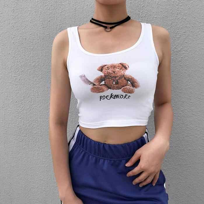 Новый женский облегающий рисунок с милым медведем без рукавов