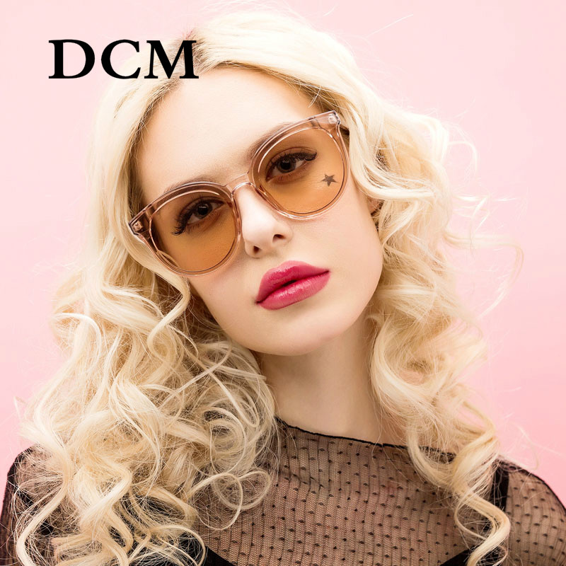 DCM Newst Fashion Round Sunglasses Women Brand Designer Ladies Cat Eye Sun Glasses Mirror Lens UV400
