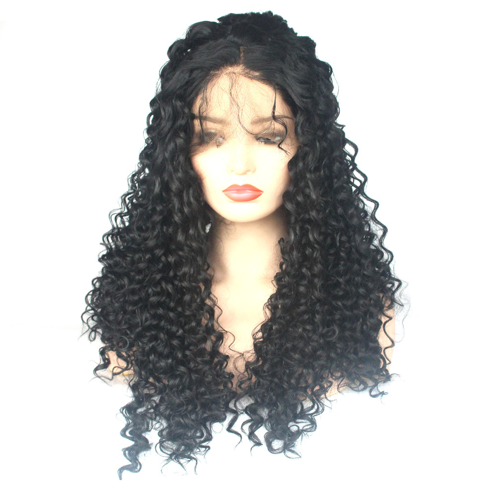 VNICE Black Loose Curly Synthetic Lace Front Wig with Baby Hair Middle Parting Glueless Heat Resistant Fiber Wigs for Women