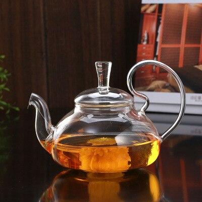 PINDEFANG Artistico riscaldabile Vetro Tè di Fioritura Sciolto Foglia Teiera con Tè Filtro Coperchio di Sicurezza Lavastoviglie Piano Cottura Sicuro Teaset Bollitore