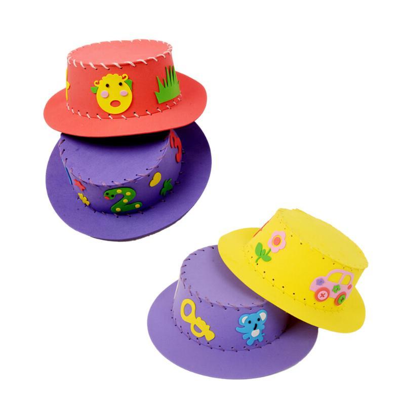 Cute Creative Handmade EVA Sun Cap DIY Hat Kids Craft Jigsaw Intelligence Develop Toys Funny Gift Kit