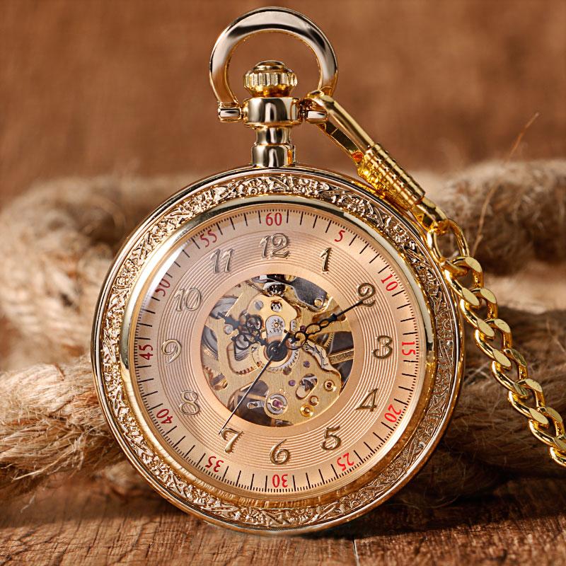 Trendy Open Face Elegant Engraving Fob Pendant Arabic Number Pocket Watch Hand Winding Mechanical Full Gold Luxury Unisex Gift