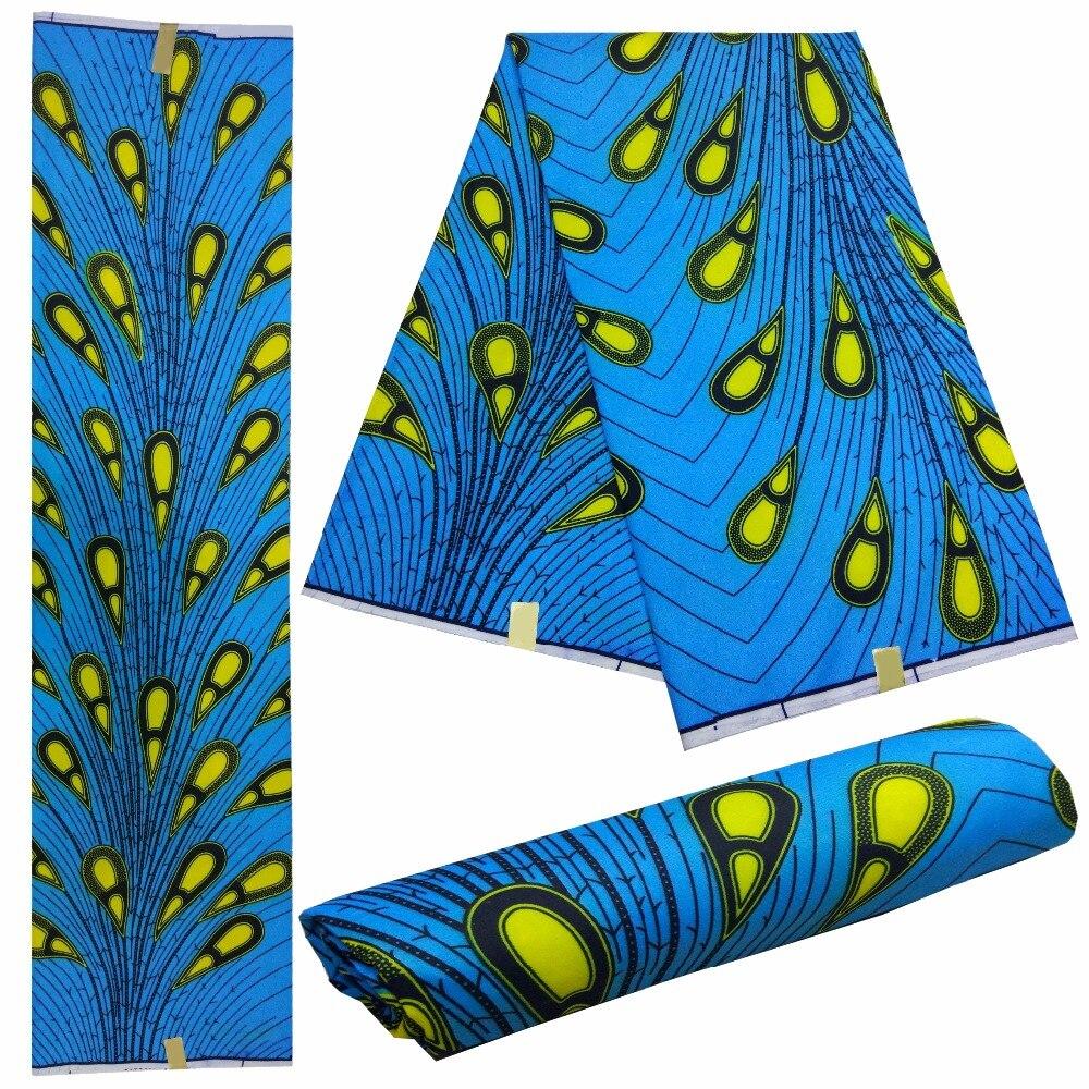 Vente chaude conception ankara africain cire impression tissu 6 yards néerlandais cire brocart africain cire imprime tissu pour robe! LBL1-2