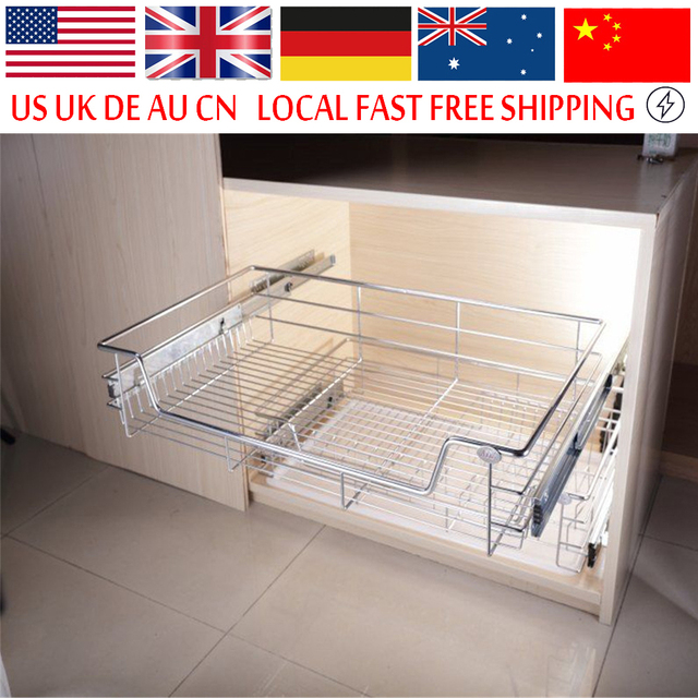 Under Shelf Storage Basket Kitchen Pantry Pull Out Sliding Metal Drawer Cabinet Organiser
