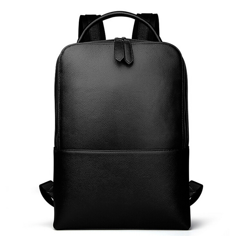Men Genuine Leather Backpacks Men's Travel Bag Fashion Man Black Backpack Casual Business Laptop Backpack Male School Backpack
