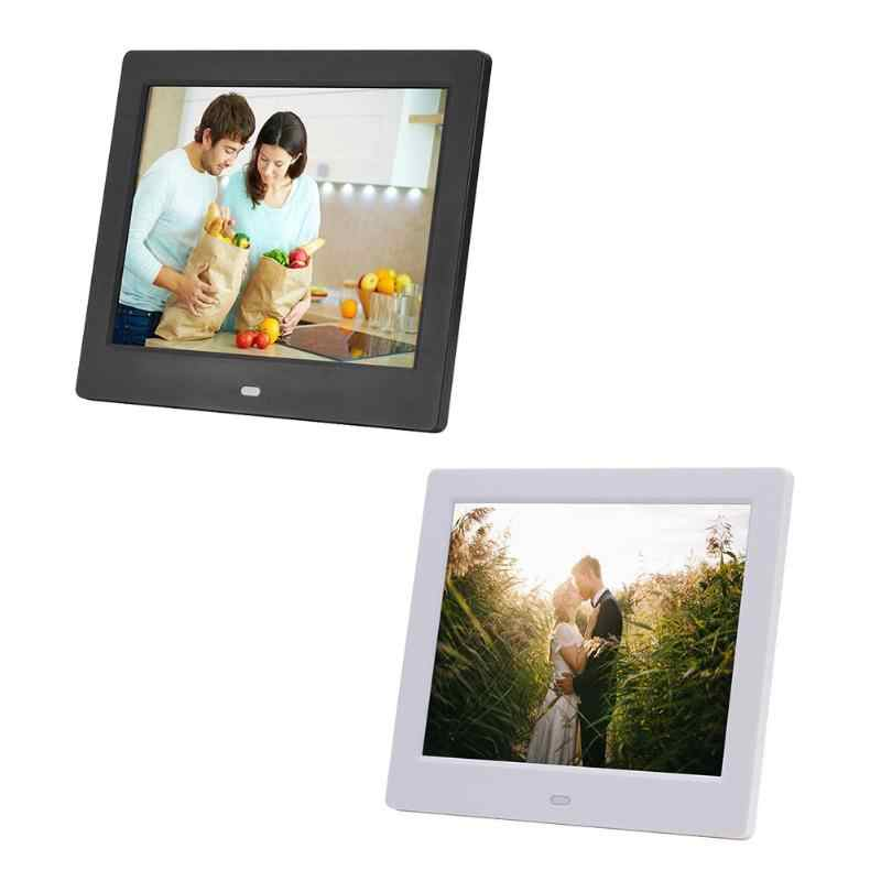 8 Inch Black/White Digital Photo Frame HD 1024x768 LED Display Playback Electronic Album Picture Movie Player Timing Alarm Clock