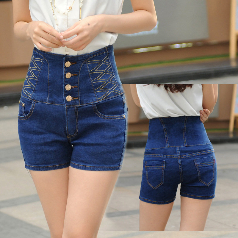 e14f95566b1d3 2016 summer new European style high waist Breasted denim shorts female  large Size Slim high Waist