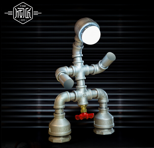 New Vintage Industrail Iron Robot Water Pipe Desk Lamp Personality Loft Table Lamp For Cafe Bar Home Lightings Luminaria De Mesa