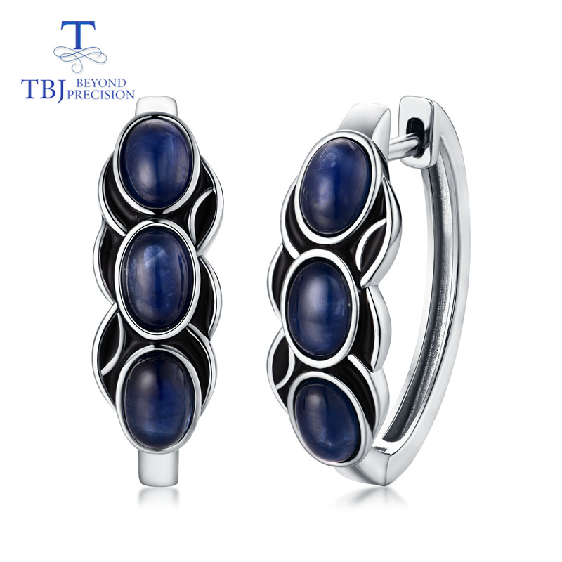 TBJ,New design Clasp earring with natural blue sapphire precious gemstone jewelry 925 sterling silver for girls women as gift
