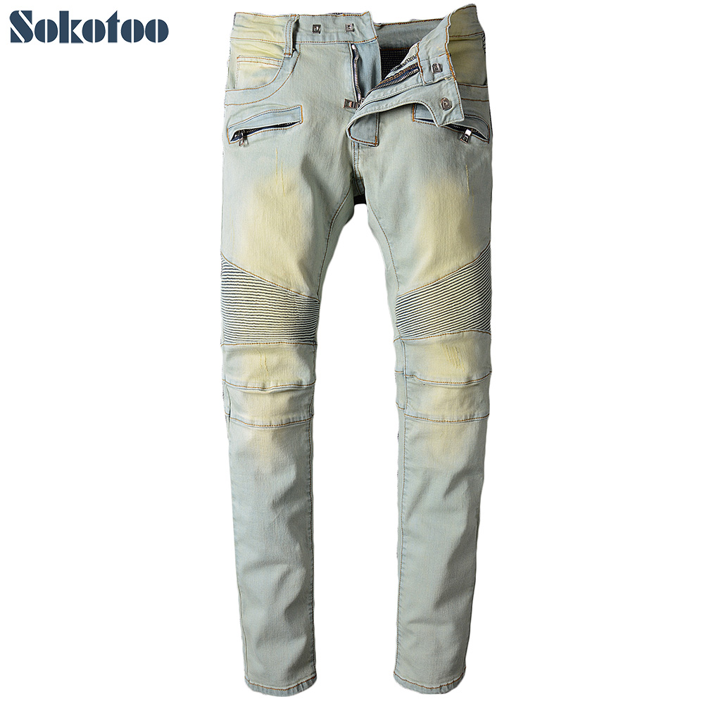 Sokotoo Men's light color pleated biker jeans for moto Casual slim straight stretch denim pants Long trousers sales zooler brand genuine leather bag shoulder bags handbag luxury top women bag trapeze 2018 new bolsa feminina b115