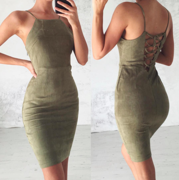 6ed6ab0b7fd65 US $15.0 |CainiKaier Sexy Deep Spaghetti Strap Stretch Midi Dress 2016 New  Women Brandy Melville AA Package Hips Side Slit Dresses-in Dresses from ...