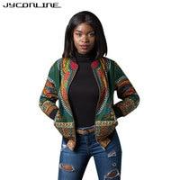 JYConline African Print Bomber Jacket Coats Women Dashiki Jacket Female Autumn Outwear Vintage Long Sleeve Coat