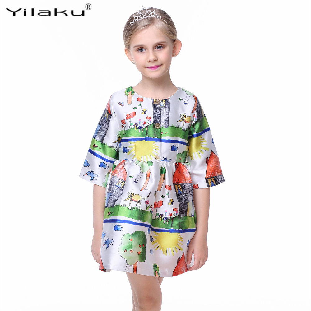 Princess Girls Dress Pół Rękaw Fashion Girl Character Painting - Ubrania dziecięce - Zdjęcie 2