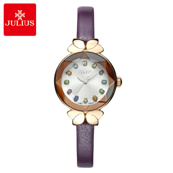 Colorful Crystal Top Julius Lady Women's Watch MIYOTA Cute Knot Fashion Hours Real Leather Bracelet Children Girl's Gift Box new real multi function men s watch hours japan mov t clock business bracelet real leather sport boy s birthday gift julius box