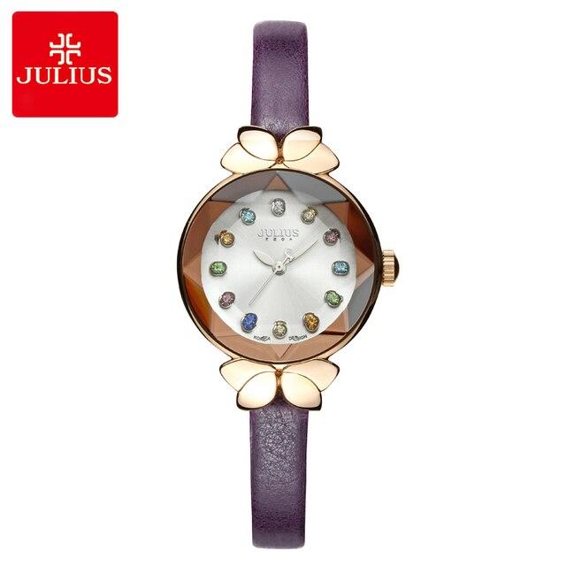 الملونة كريستال العلوي يوليوس سيدة ساعة نسائية miota لطيف عقدة ساعات الموضة سوار جلد حقيقي للأطفال الفتاة هدية