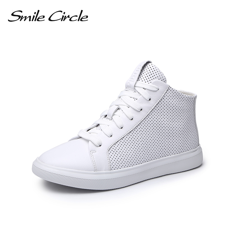 Smile Circle Summer sneakers Women Genuine Leather High top Flat platform Shoes Women Fashion sneakers 2018 White Black S