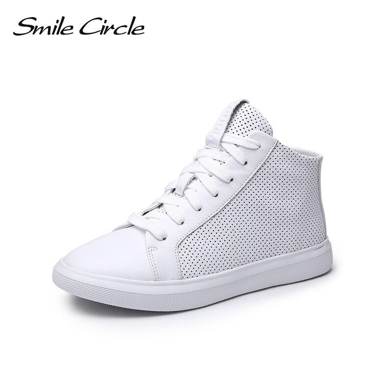 Sourire cercle été baskets femmes en cuir véritable haut-haut plat plate-forme chaussures femmes mode baskets 2018 blanc noir S