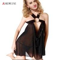 Nhãn hiệu Thời Trang Mới Trong Suốt Cutout Váy Ngắn Sexy Women Lingerie One Kích Thước Quần Áo Ngủ Ladies Đen Underwear Dress