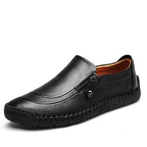 Image 4 - Klassieke Comfortabele Casual Schoenen Mannen Loafers Schoenen Split Lederen Mannen Schoenen Flats Hot Koop Mocassins Schoenen Plus Size