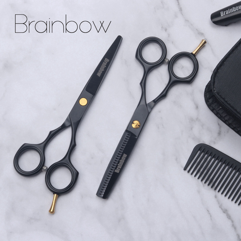 Brainbow 5,5 negro Japón pelo tijeras de corte de adelgazamiento peluquería tijeras de corte de pelo de herramientas de peinado