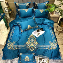 New Blue Green Red Luxury Gold Royal Embroidery Egyptian Cotton Wedding Bedding Set Duvet Cover Bed sheet Linen Pillowcase