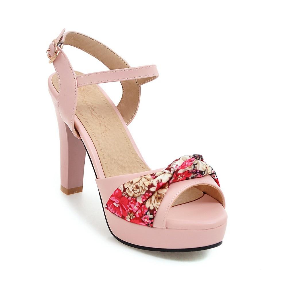 bleu Noeuds Doux 43 Hauts Talons 2019 Noir Toe rose Papillon blanc Femme Sandales Taille 34 D'été Grande Femmes Nouveau Chaussures Peep a0xxqwU